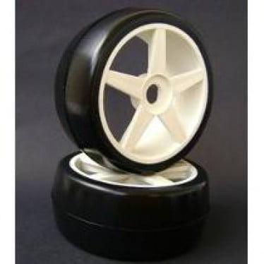 Roda C/ Pneu Sintec Slick on road 47MM traseiro c/ roda ST branca 1/8 (par) - S091