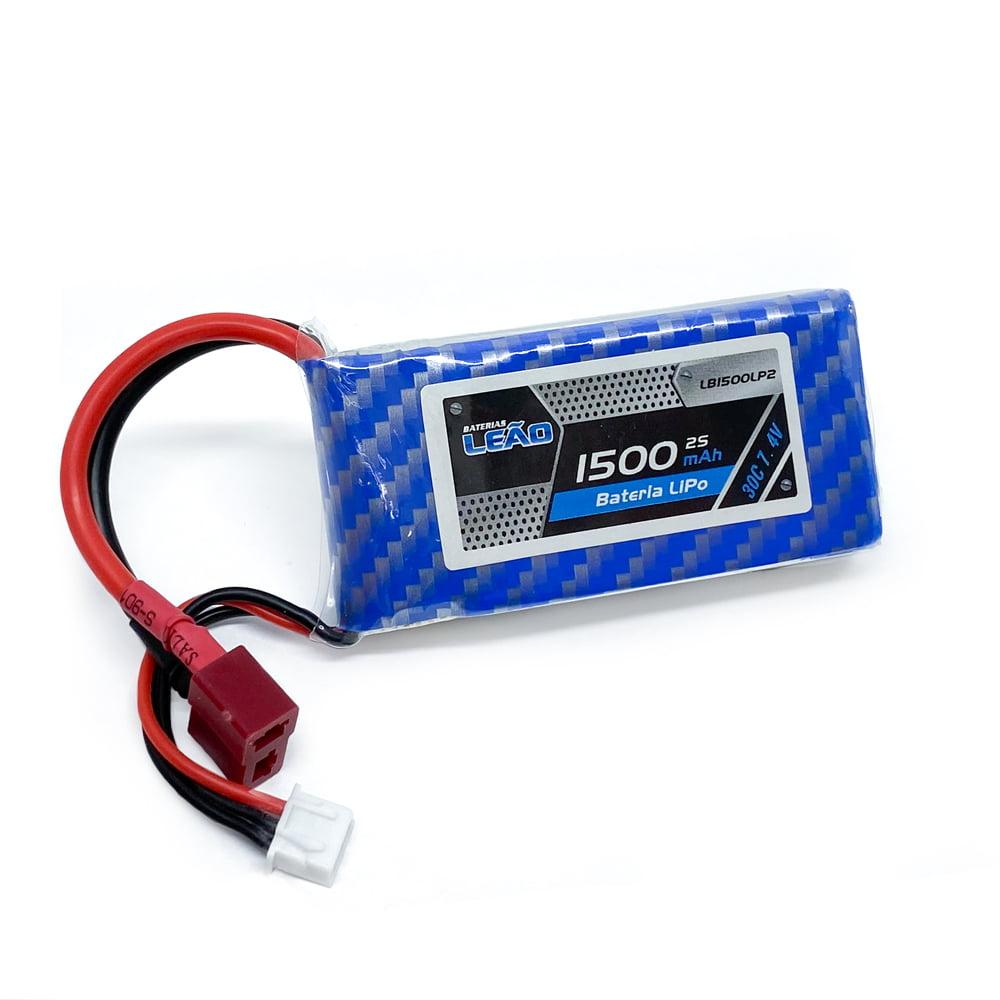 LEAO - Bateria Lipo - 7.4V - 2S - 1500mAh - 30C/60C - T-Dean