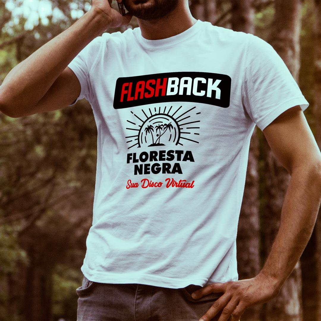 CAMISETA T-SHIRT DA FLORESTA NEGRA DISCO VIRTUAL COR BRANCA