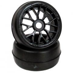 Roda C/ Pneu Sintec slick com rodas YBS preta para brushless - S103