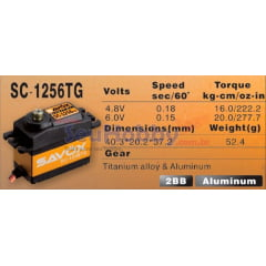 SERVO DIGITAL SAVOX SC-1256 TG (HIGH TORQUE, 6VOLTS, 20KG, 0