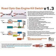 Rcexl Opto Gas Motor Kill Switch Com Plug Futaba DLA DLE DA